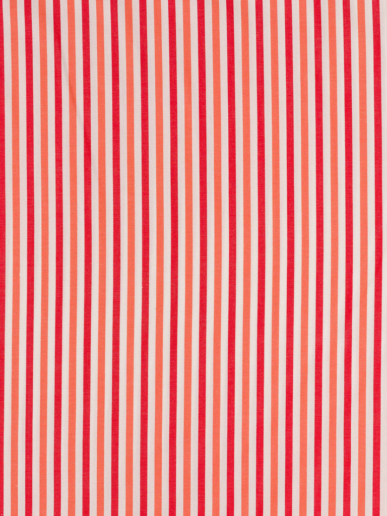 Lightweight 100% self stripe fine cotton. Tomato red and coral stripes on a white background