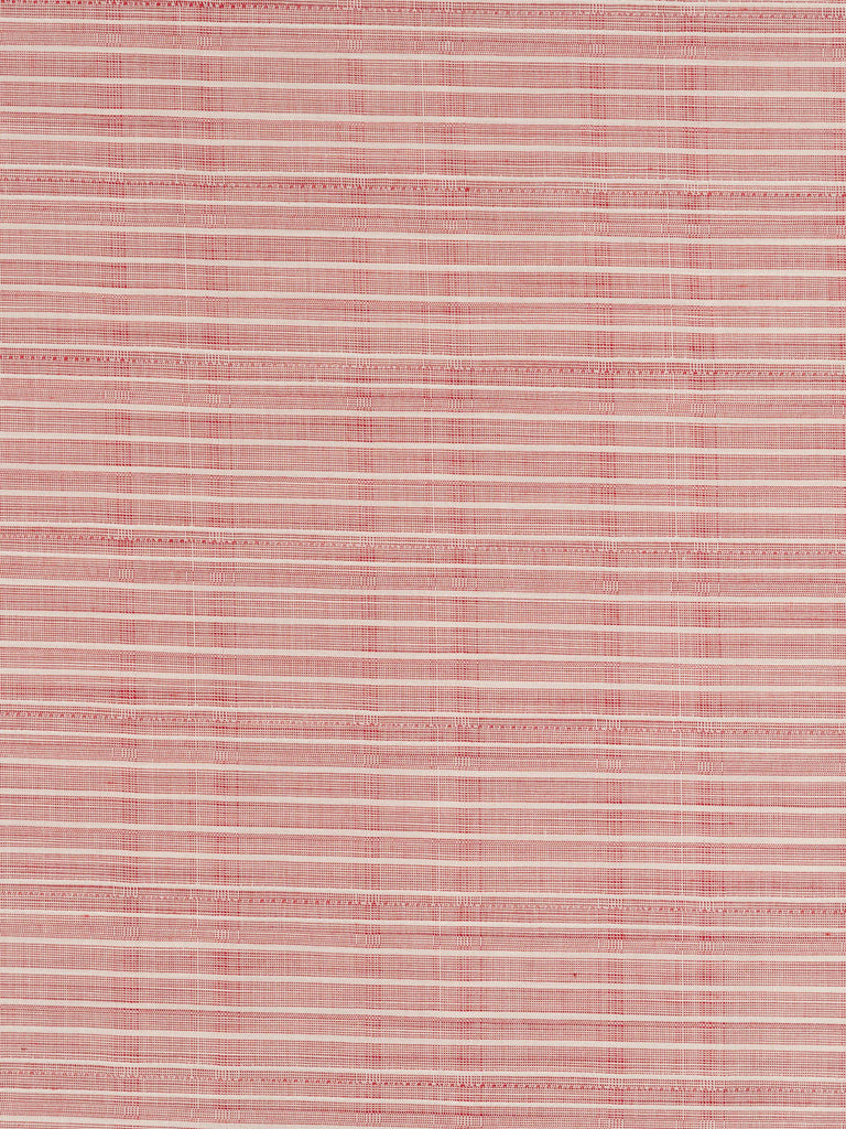 Lightweight 100% finely woven cotton. Subtle check with strong horizontal stripe throughout in a faded red tone