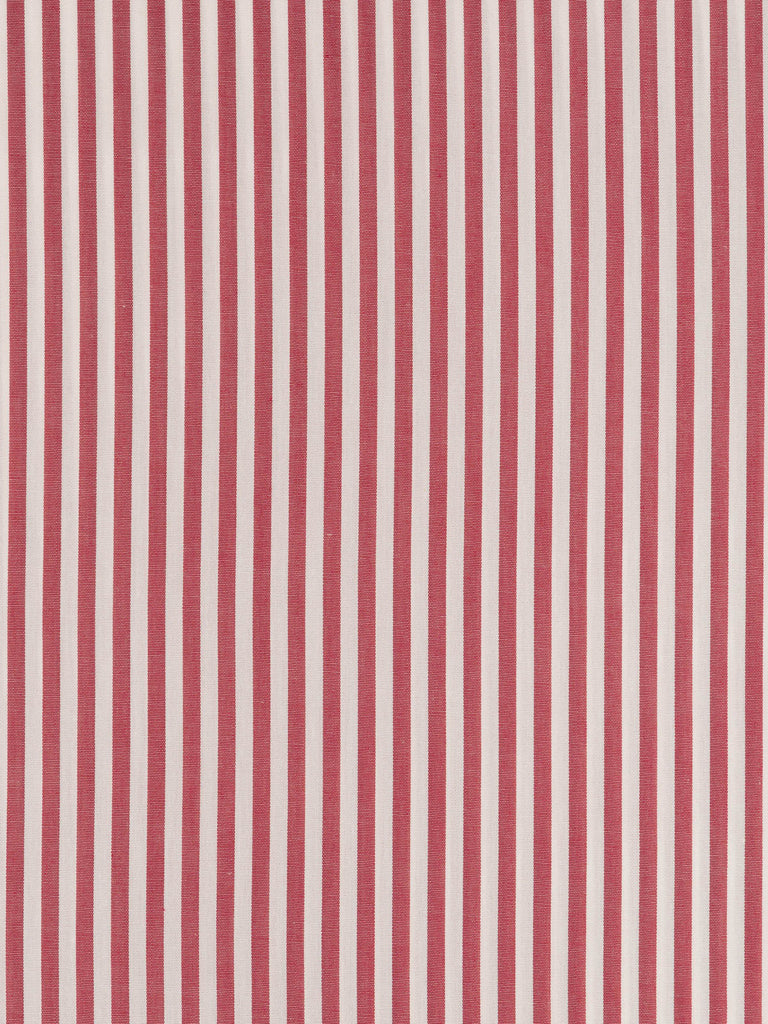 Lightweight 100% woven very fine shirting cotton, high thread count. Even stripes in dark red and white