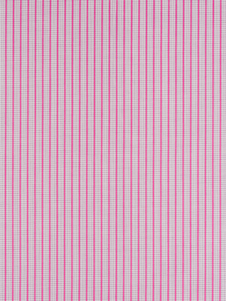 Lightweight 100% cotton shirting. Slightly raised satin weave with a pink/magenta stripe and tiny background check pattern