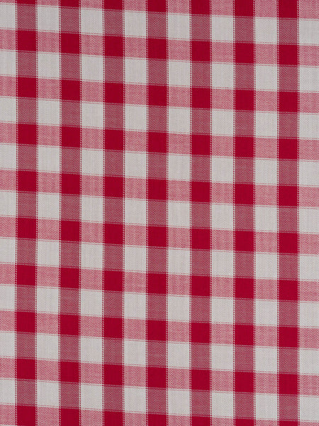 Medium weight 100% cotton with high thread count. Very soft Herringbone cotton Gingham check in off-white and red