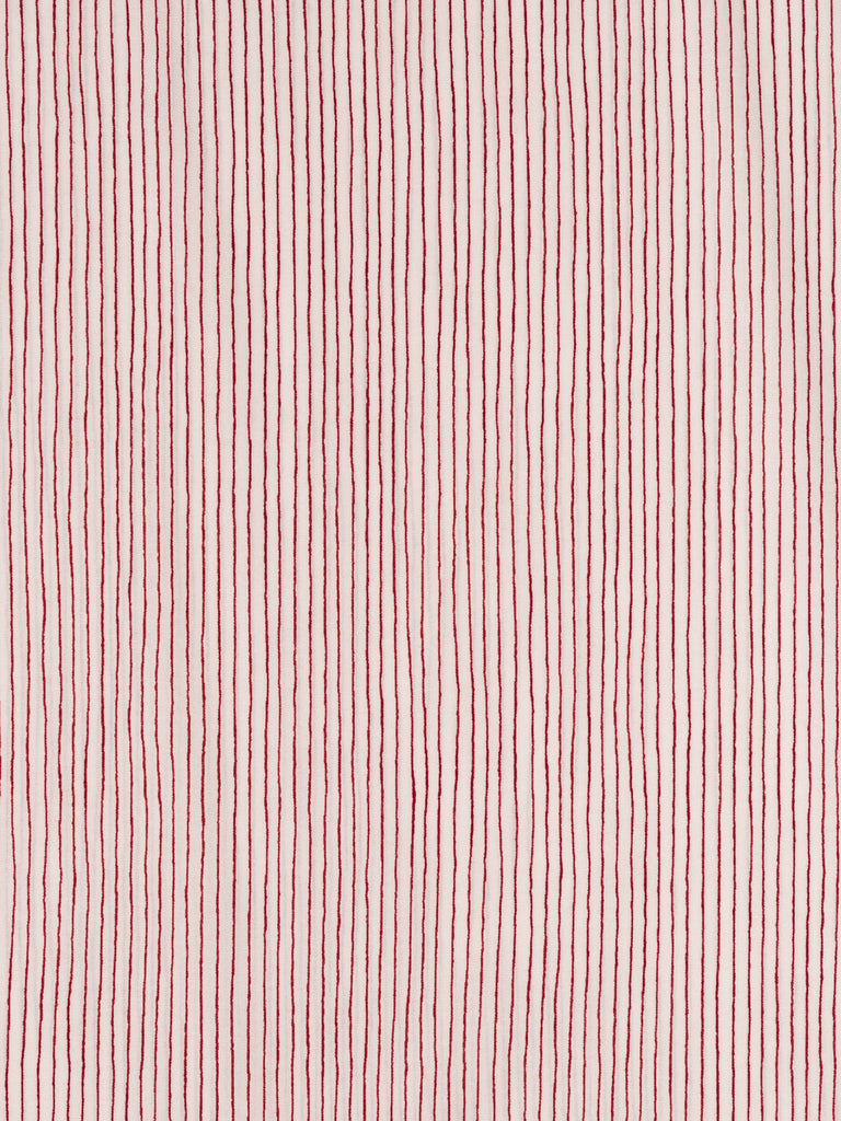 Lightweight 100% cotton. Sketched cherry red line on a natural white background