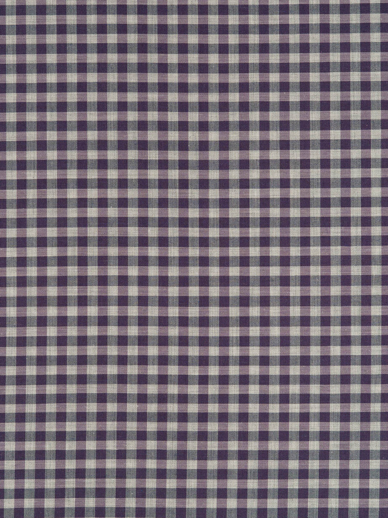 Lightweight 100% cotton shirting fabric. Gingham check in indigo, stone and purple tones