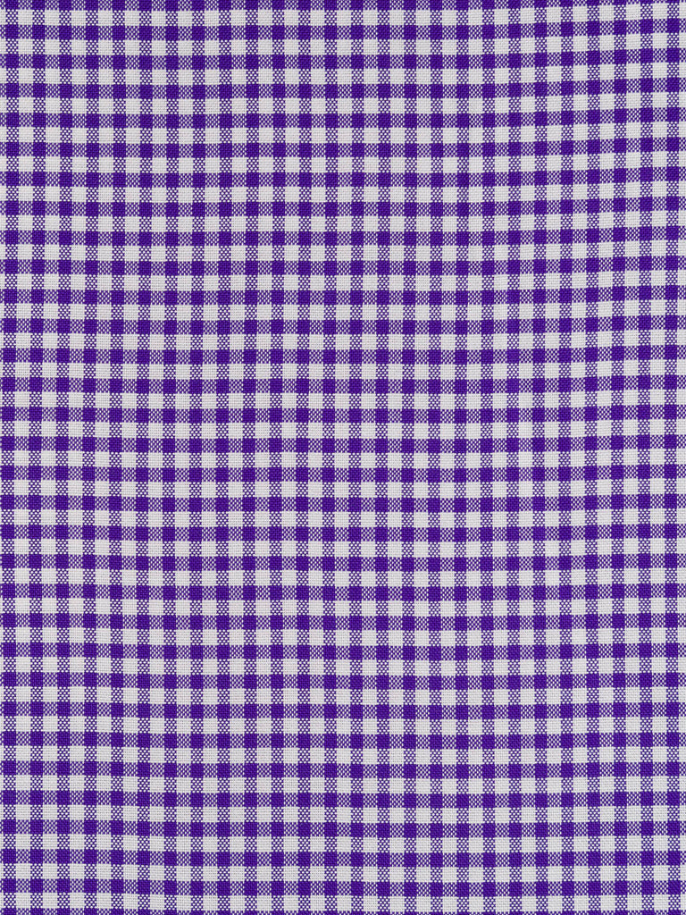 Medium weight 100% cotton Gingham Oxford shirting fabric. Strong purple and natural white tone