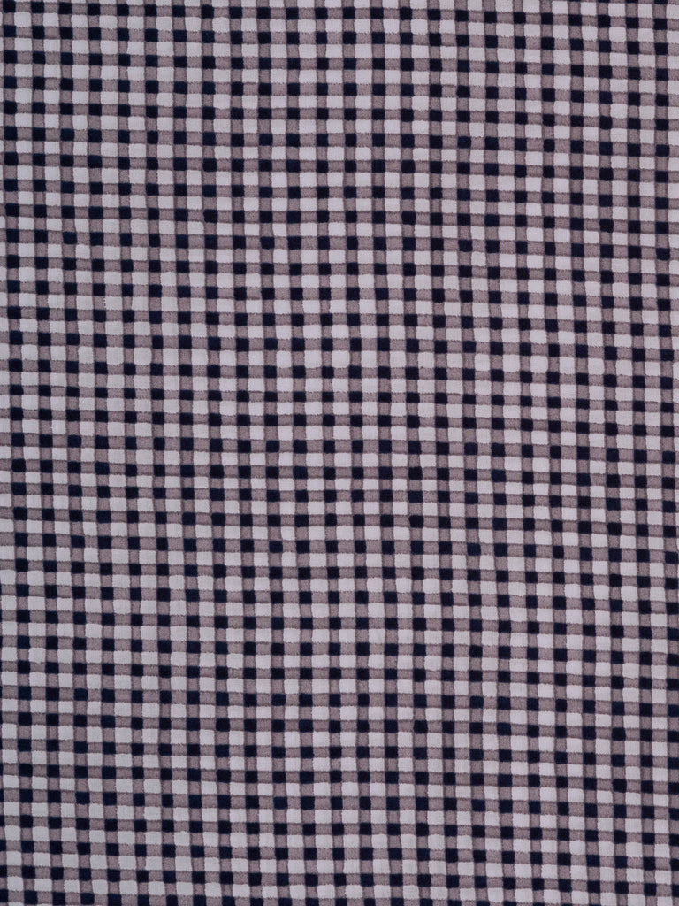 Lightweight 100% cotton shirting. Pale lilac background with printed Gingham check in taupe and navy
