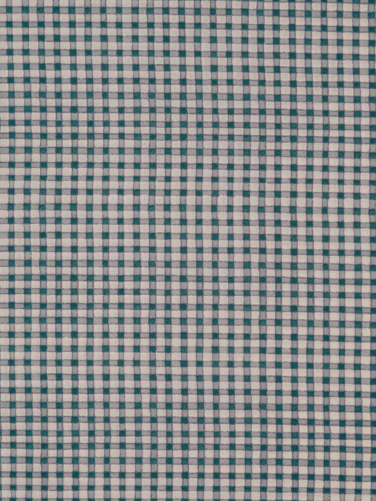 Lightweight 100% cotton shirting. Pale cream background with printed Gingham check in taupe and teal tones