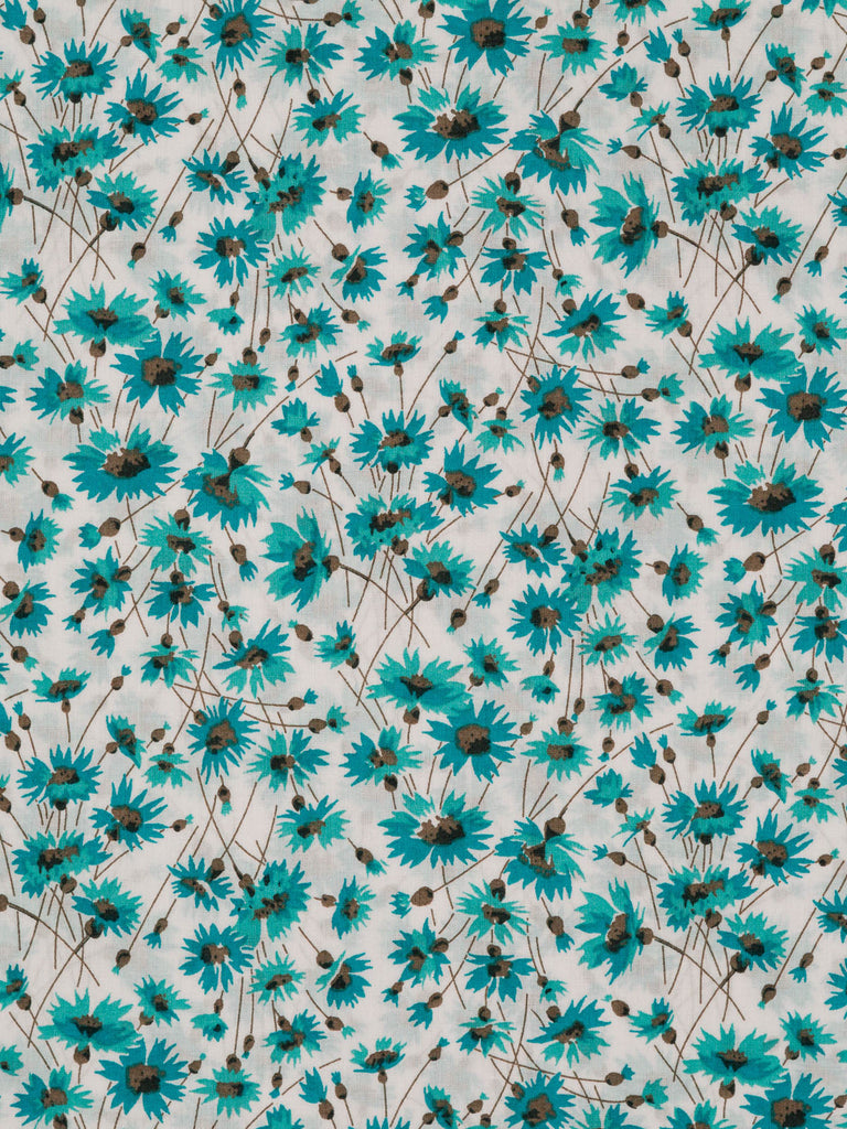 Lightweight Liberty-style 100% cotton lawn. Small floral pattern in turquoise, teal and grey tones on a natural white background