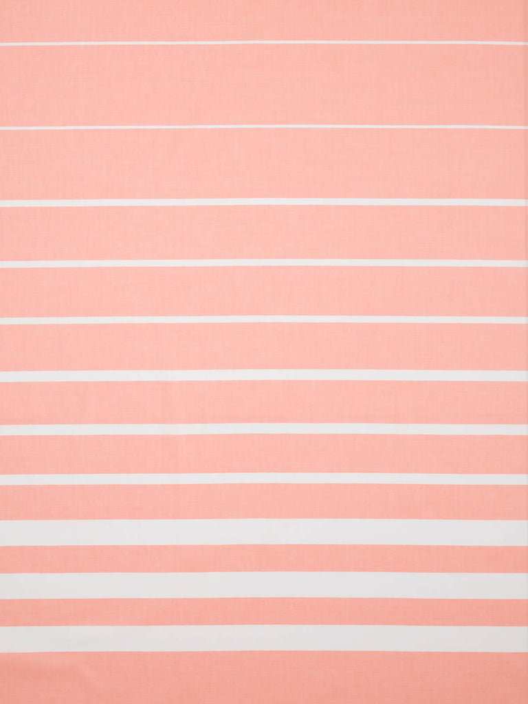 Lightweight 100% fine cotton shirting. Peach background with white woven horizontal stripe border