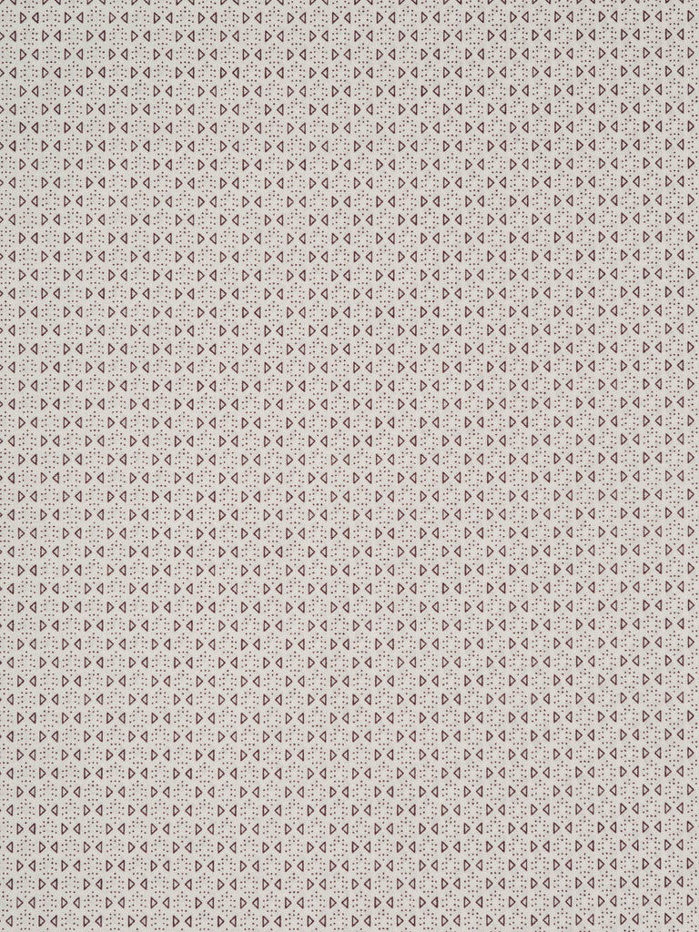 Lightweight 100% cotton lawn. Natural white background with small geometric triangles in purple/brown
