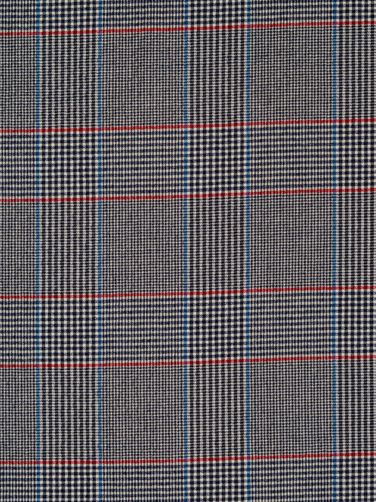 Medium weight 100% cotton seersucker. Prince of Wales style check in black, natural, red and cornflower blue, with all-over even crinkle effect
