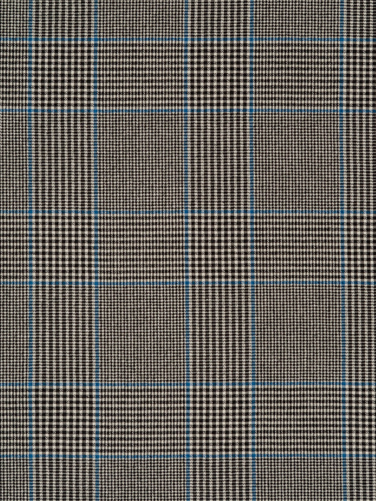 Prince Of Wales Blue And Black Seersucker Fabric