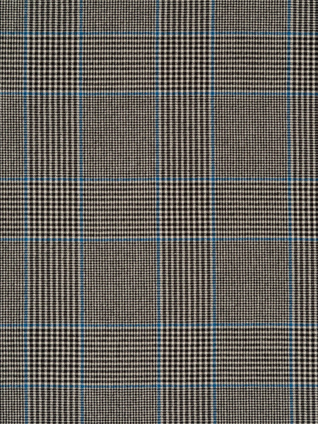 Medium weight 100% cotton seersucker. Prince of Wales style check in black, natural and cornflower blue, with all-over even crinkle effect
