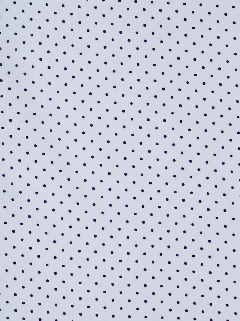 Lightweight fine cotton lawn print fabric. Baby blue background with navy dots