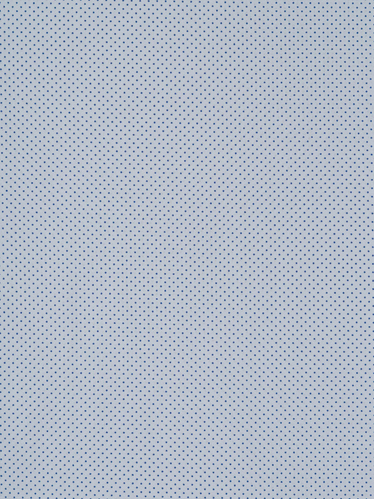Lightweight cotton lawn fabric. Baby blue background with tiny denim blue polka dots