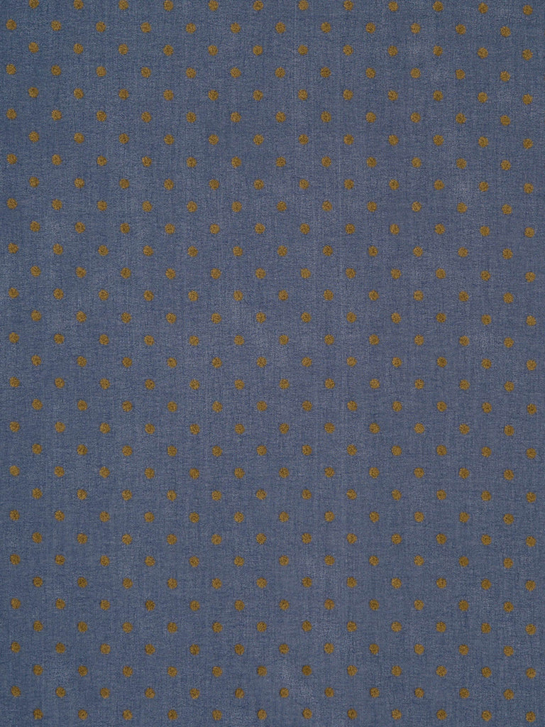 Lightweight poly-crepe chiffon. Dark denim blue background with antique gold polka dot