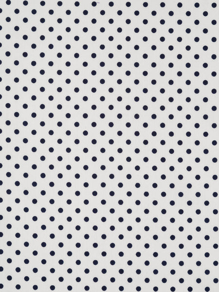 369b64f2a65 Lightweight cotton lawn fabric. Natural white background with robust navy polka  dot pattern