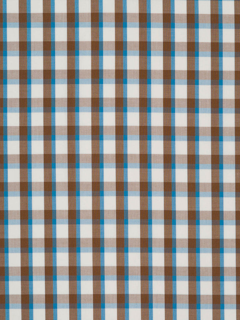 Lightweight 100% cotton. Chocolate brown, teal and white check