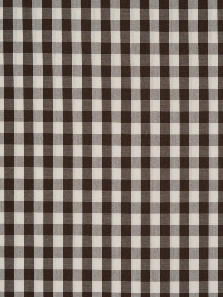 Lightweight 100% cotton lawn. Dark brown and natural white Gingham check