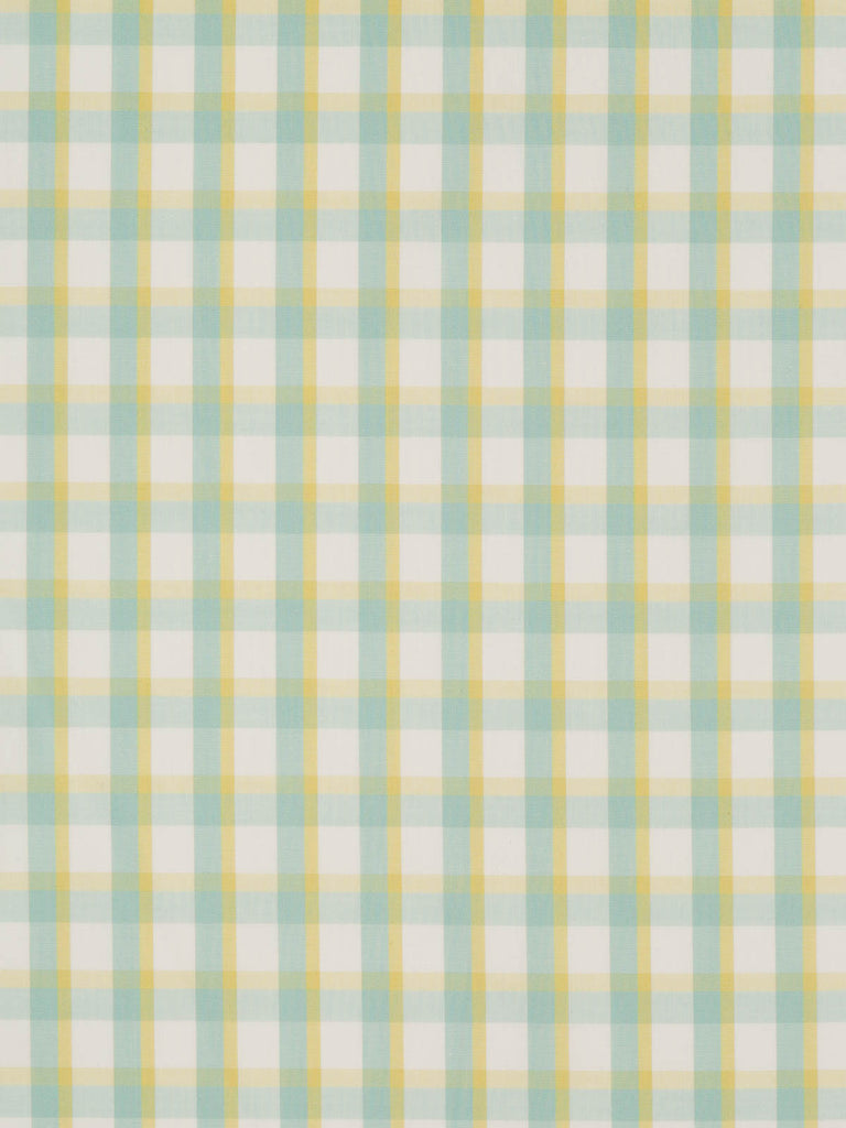 Lightweight 100% cotton. Mint, yellow and white check