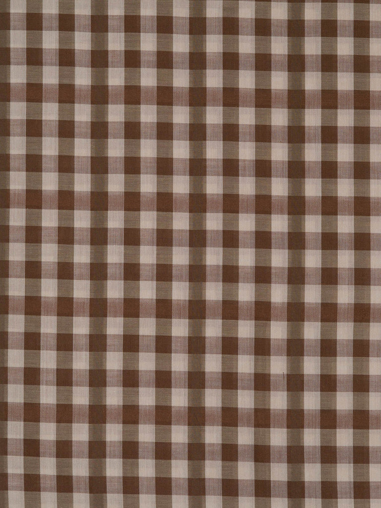 Lightweight and very fine 100% cotton lawn Gingham check fabric. Chocolate brown and natural tones