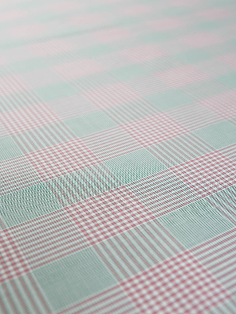 Micro Houndstooth Plaid - Pink/Green - Fabworks Online