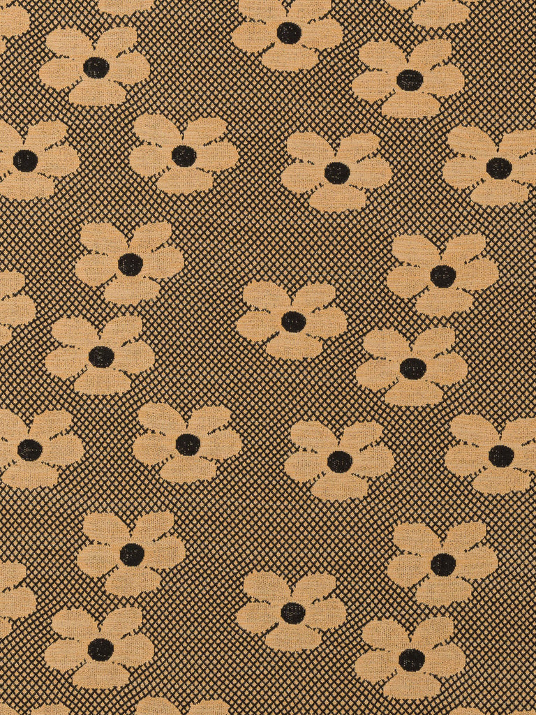 Retro '60s Daisy - Rich Camel & Black - Fabworks Online