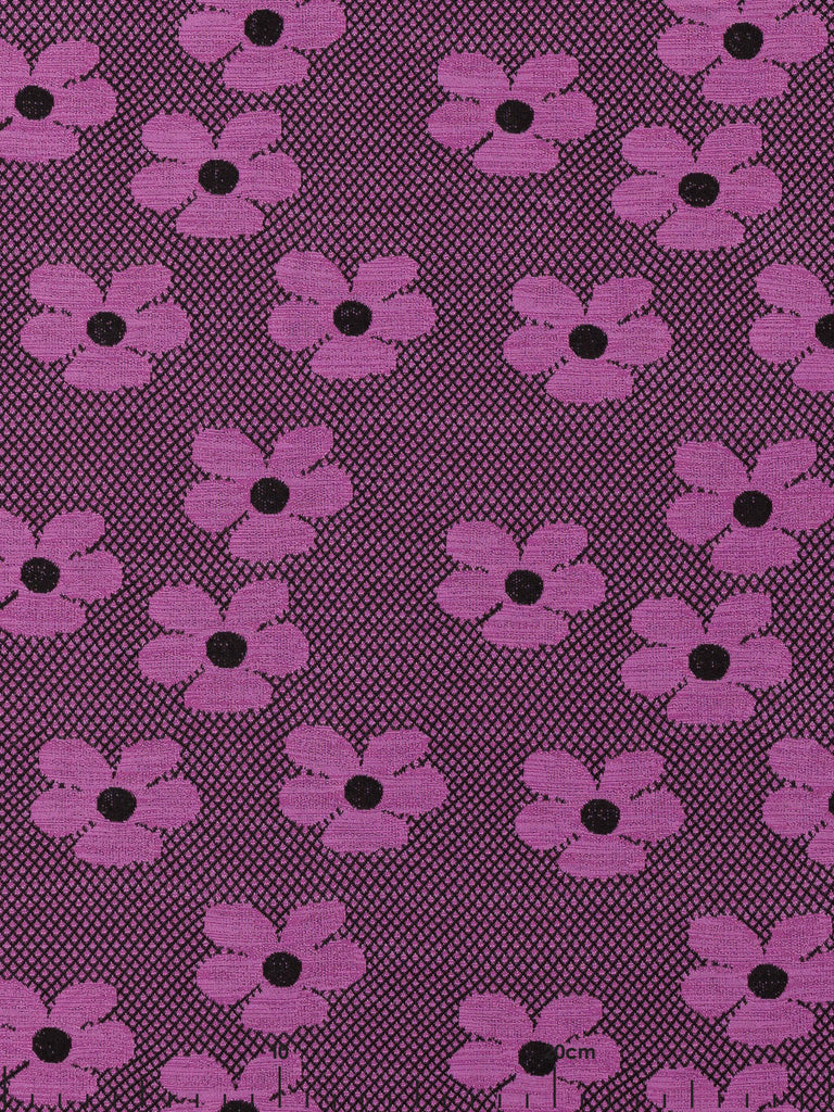 Retro '60s Daisy - Funky Lilac & Black - Fabworks Online