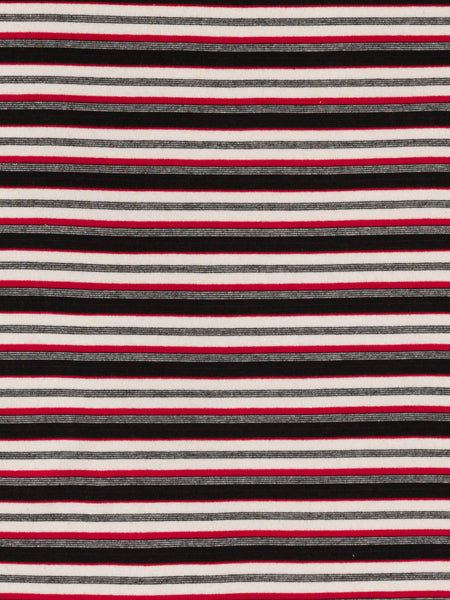 Skinny 'T' Stripe Interlock - Black, Cherry & Cream - Fabworks Online