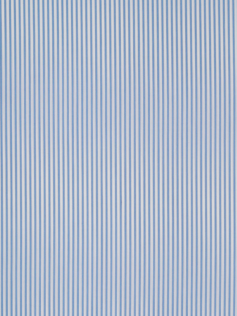 Lightweight 100% fine cotton twill fabric with elastane. Pale blue and white stripes