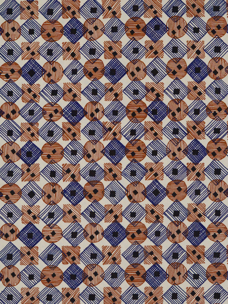Lightweight 100% fine cotton fabric. Navy and brown pattern throughout on a natural background