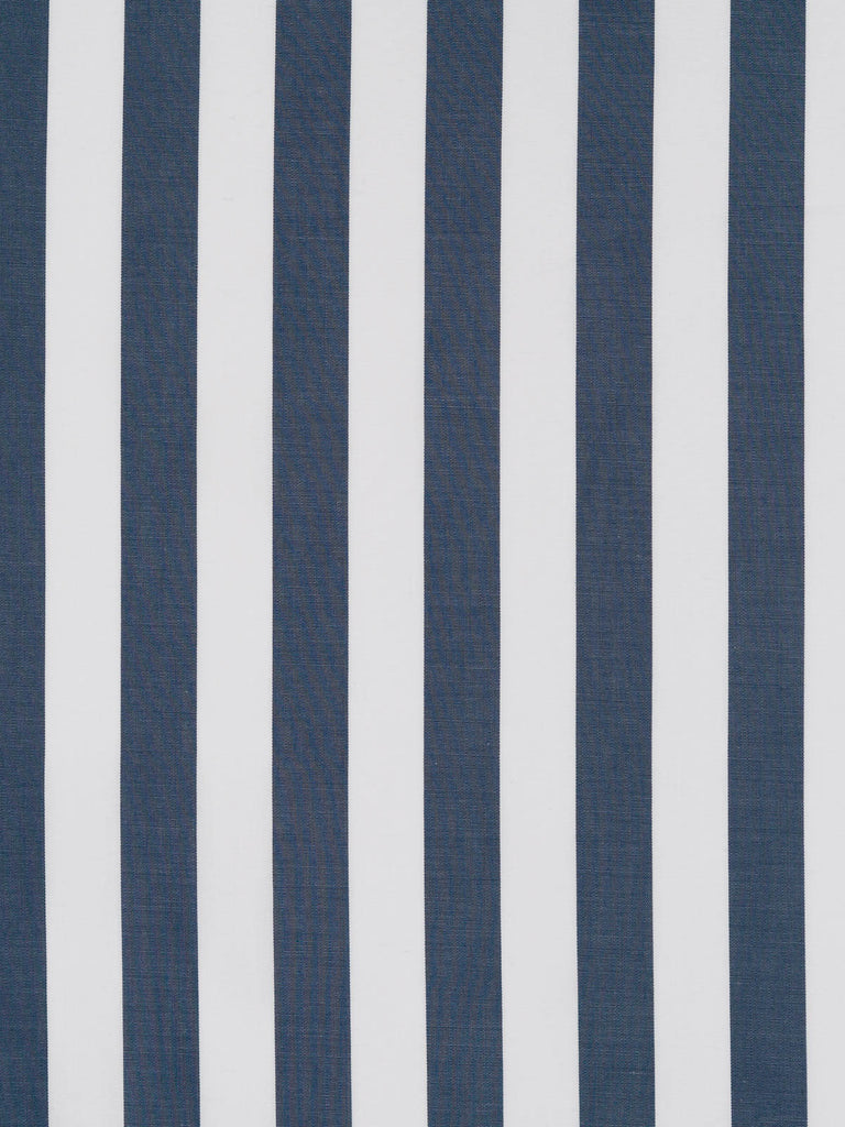 Lightweight 100% fine cotton shirting. Even stripe pattern in slate grey and white