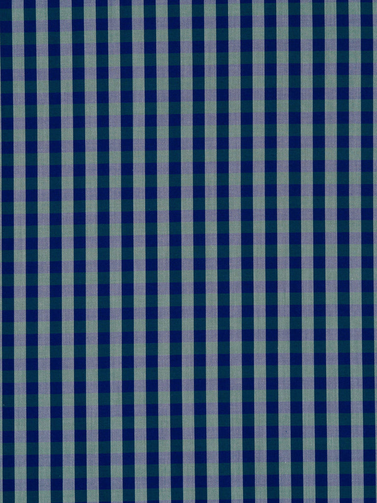 Lightweight super fine 100% cotton shirting. Small Gingham check in white, teal and cobalt blue
