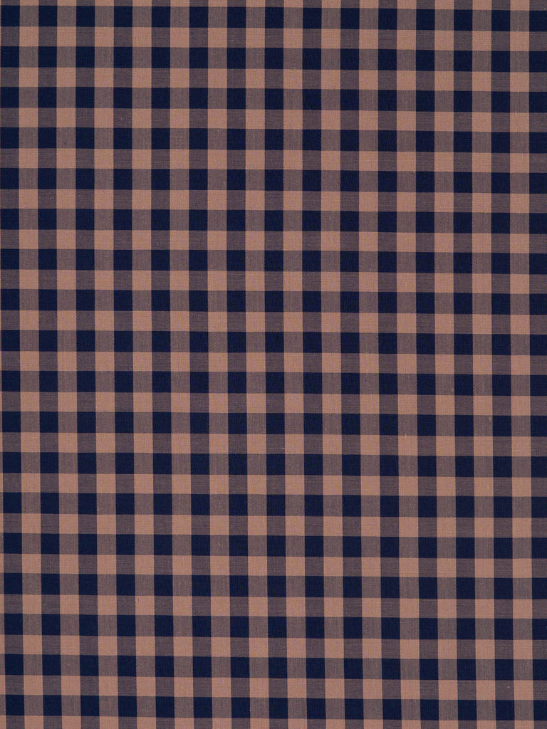 Lightweight super-fine 100% cotton shirting fabric. Gingham check in navy blue and pink/beige