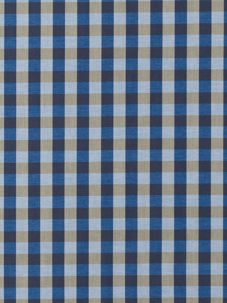 Large Gingham Check – Taupe and Denim - Fabworks Online