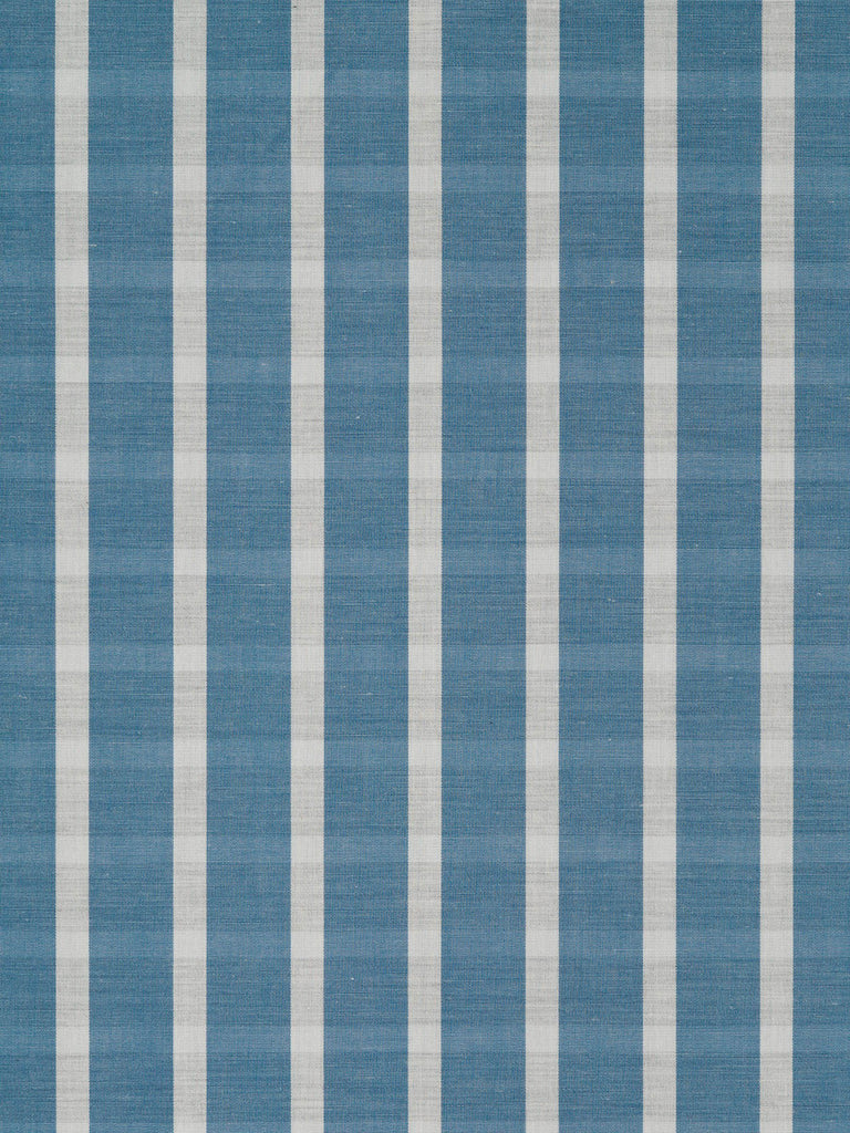 Lightweight super-fine 100% cotton shirting. Mid-denim blue with natural white and grey/taupe weft stripe