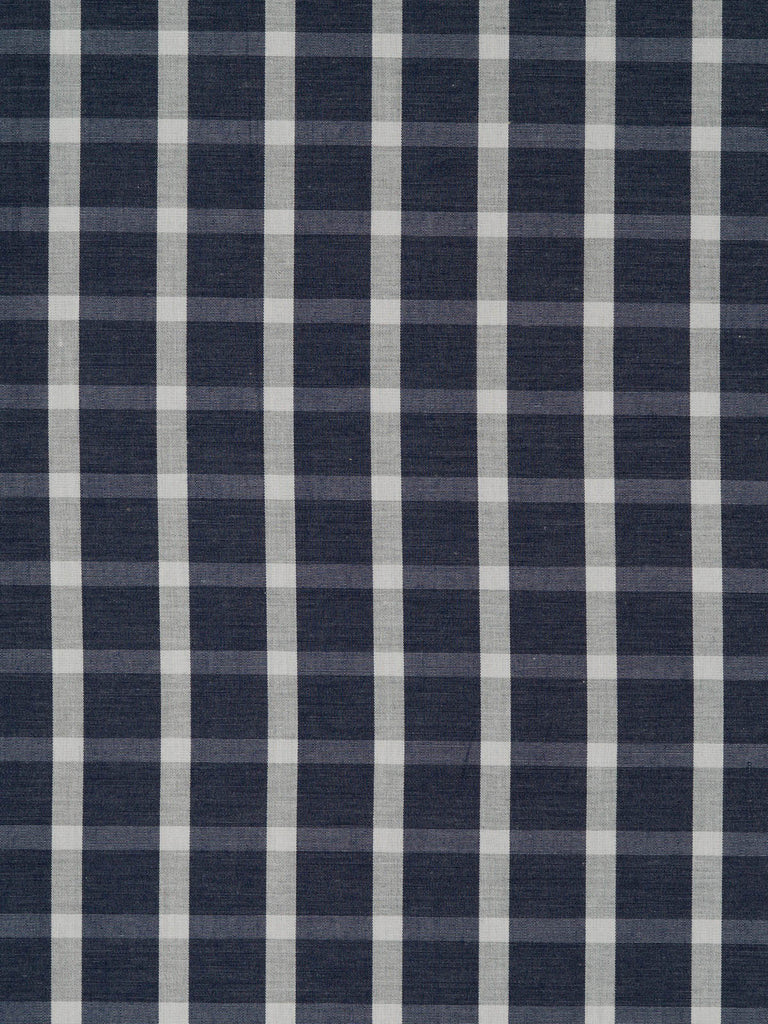 Lightweight super-fine 100% cotton shirting. Navy/slate grey with natural white and grey weft stripe