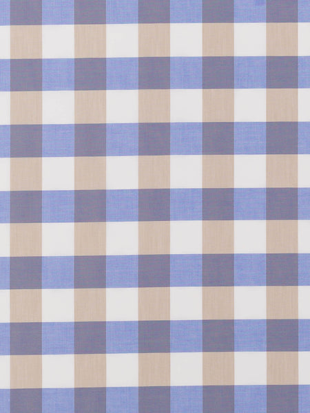 Large Gingham Check - Hydrangea & Beige - Fabworks Online