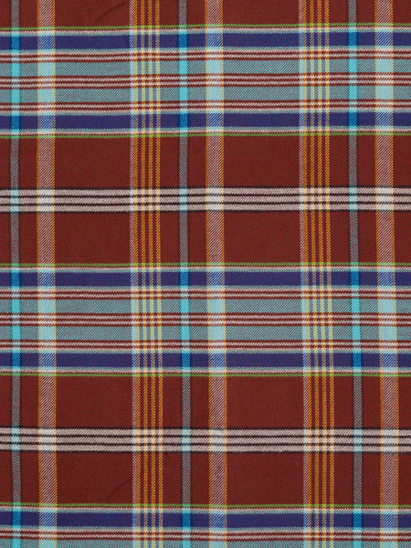 Red Peaty Brown and Turquoise Plaid - Fabworks Online