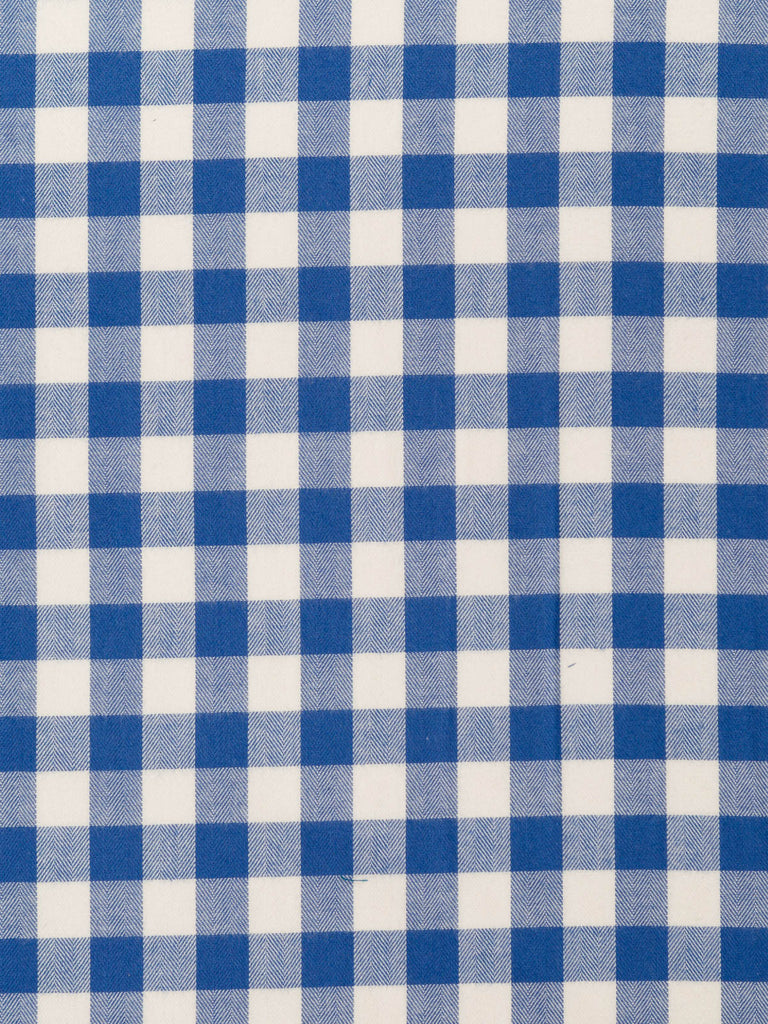 Washed Denim Blue and Natural White Gingham Check