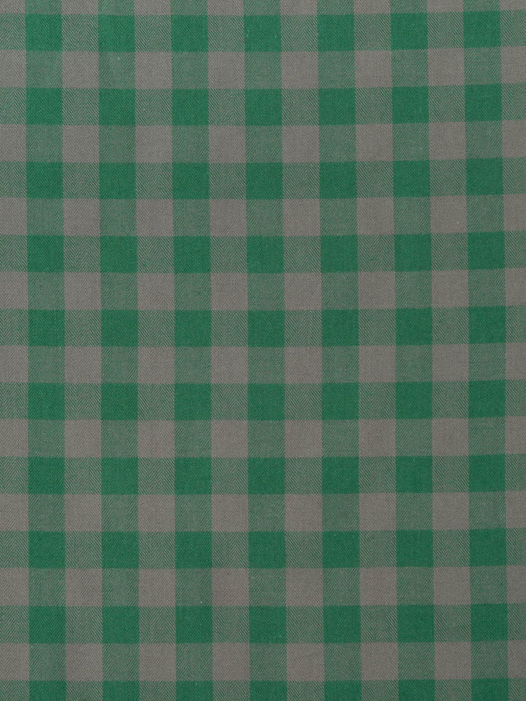 Dark Minty Green and Light Taupe Gingham Check - Fabworks Online