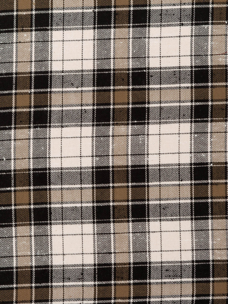 Black and Brown Slubby Plaid