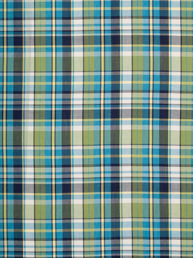 Navy and Green Madras Check - Fabworks Online