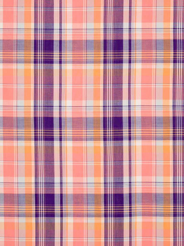 Apricot, Peach and Purple Madras Check - Fabworks Online