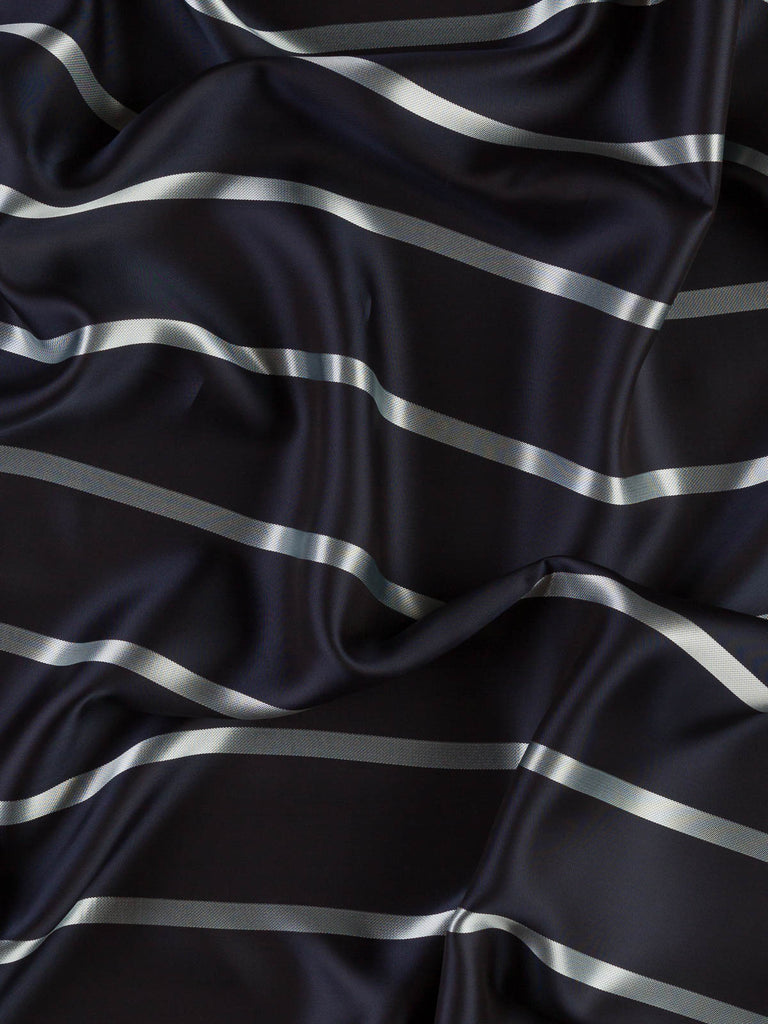 Boating Stripe - Midnight Silver - Silky Lining