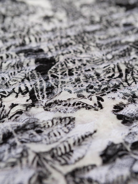 Black Tropical Ruffle Lace - Fabworks Online