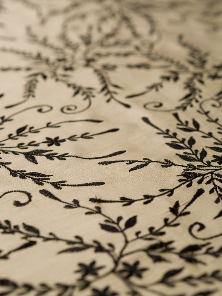 Molten Gold Floral Embroidered Silk
