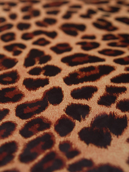Crushed Cocoa Silky Leopard Georgette