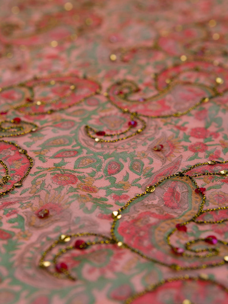 Jaipur Paisley Embroidered Silk Chiffon - Fabworks Online