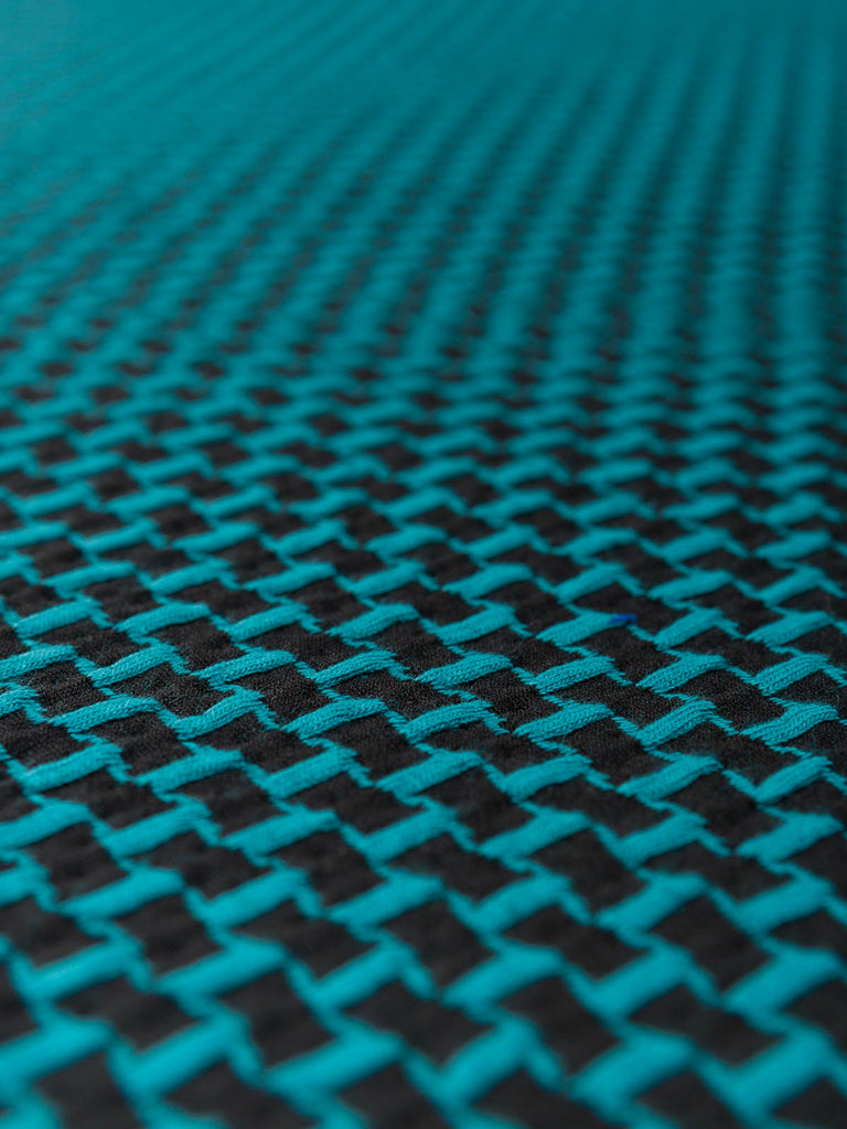 Geometric Flags Blister Ponte - Teal/Black - Fabworks Online