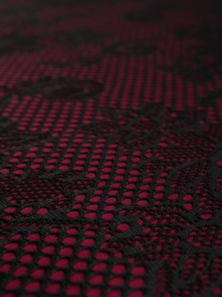 Fabric 13: M2f9 Batch #1015- Scrolling Floral- Bonded Lace Jersey.- (Wine) - Fabworks Online